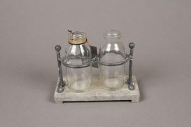 A138I0 Wooden tray with 2 glass vases 15x7.5cm H12cm