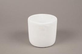 A138TN Cache-pot en terre cuite blanc D13cm H11cm