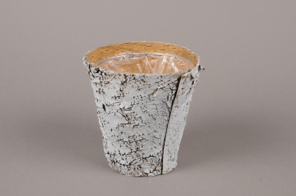 A139DZ Cache-pot en écorce blanchi D13.5cm H14cm