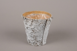 A139DZ Whitened wood bark planter D13.5cm H14cm