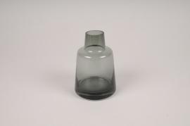 A139W3 Vase soliflore en verre avec col gris D8cm H12cm