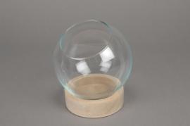 A140DQ Cloche boule en verre avec plateau bois D19cm H18cm