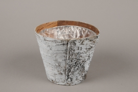 A140DZ Whitened wood bark planter D17.5cm H14.5cm