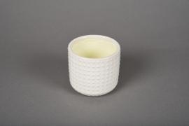 A140VU Cache-pot en céramique blanc D7.5cm H7cm