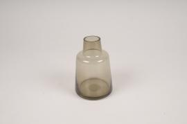 A140W3 Vase soliflore en verre avec col gris D8cm H12cm