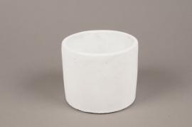A141TN Cache-pot en terre cuite blanc D14cm H13cm