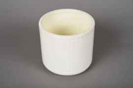 A141VU Cache-pot en céramique blanc D12cm H11cm