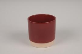 A142T3 Cache-pot en céramique bordeaux D11cm H11cm