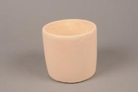 A142TN Cache-pot en terre cuite beige D13.5cm H12.5cm