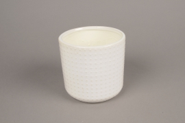 A142VU White ceramic planter pot D13.5cm H13cm
