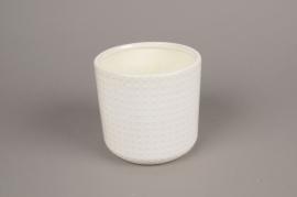A142VU Cache-pot en céramique blanc D13.5cm H13cm