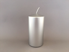 A143E2 Box of 6 candles silver cylinder D10cm H20cm