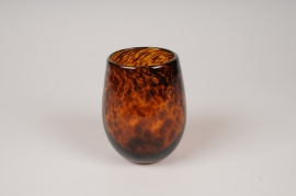 A143IH Amber glass candle jar D9.5cm H12cm