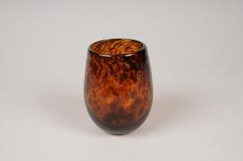 A143IH Photophore en verre ambre D9.5cm H12cm
