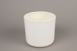A143VU White ceramic planter pot D16cm H15cm