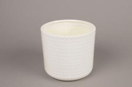 A143VU White ceramic planter pot D16cm H15cm