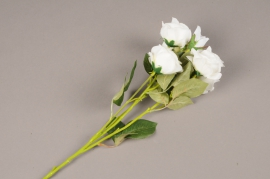 a144nn Branche de roses artificielle blanche  H70cm
