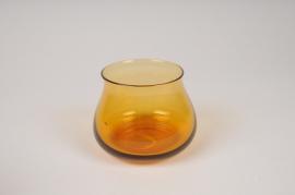 A145IH Photophore en verre ambre D10cm H8cm