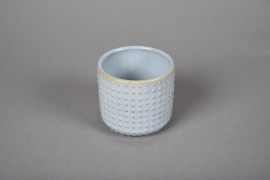 A145VU Blue ceramic planter pot D7.5m H7cm