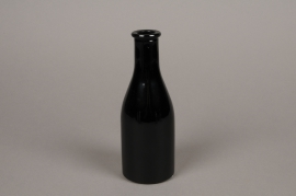 A146I0 Black glass bottle vase D6.5cm H18cm
