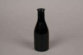 A146I0 Vase bouteille en verre noir D6.5cm H18cm