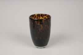 A146IH Photophore en verre ambre D9cm H13.5cm