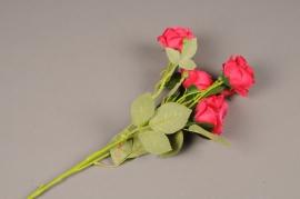 a146nn Branche de roses artificielle fuchsia  H70cm