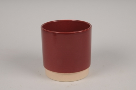 A146T3 Cache-pot en céramique bordeaux D13cm H13cm
