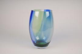 A146W3 Vase en verre obus bleu vert D16cm H28cm