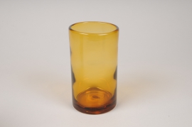 A147IH Photophore cylindre en verre ambre D8cm H14cm