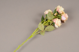 a147nn Artificial pink branch rose H70cm