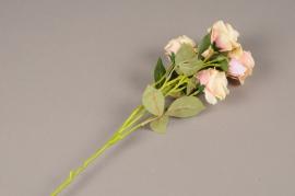 a147nn Artificial pink branch rose H70cm