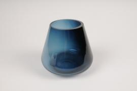 A147W3 Blue glass vase D13cm H12cm