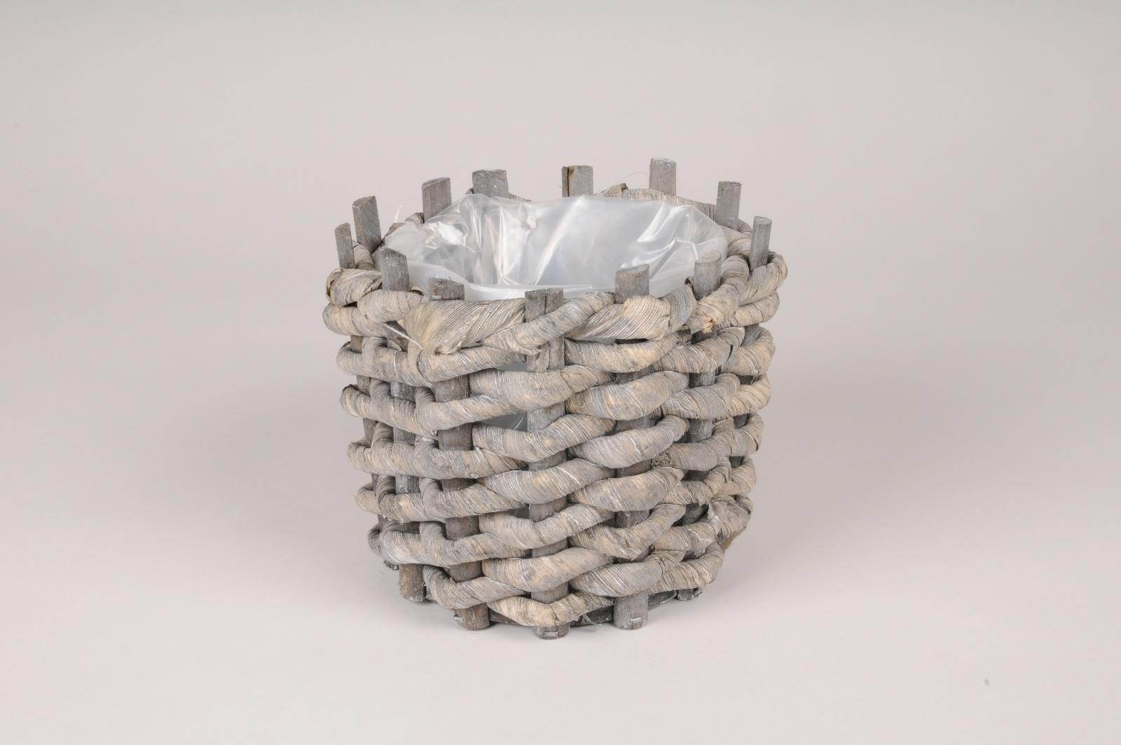 A148DZ Cache-pot en jonc de mer gris D17cm H14.5cm