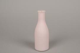 A148I0 Vase bouteille en verre rose D6.5cm H18cm