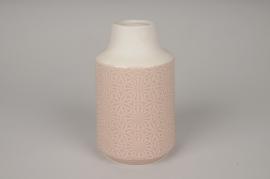 A149DQ Vase en céramique rose D11cm H19cm