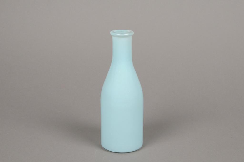 A149I0 Vase bouteille en verre bleu D6.5cm H18cm