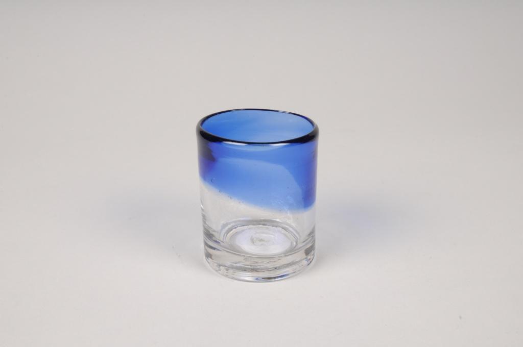 A149IH Photophore en verre bleu D5.5cm H7cm