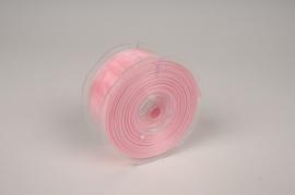 A149UN Pink organza ribbon 38cm x 20m