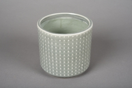 A149VU Green ceramic planter pot D12cm H11cm