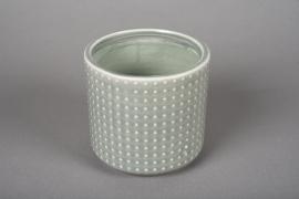 A149VU Cache-pot en céramique vert D12cm H11cm