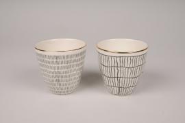 A150DQ Cache-pot en céramique blanc assortis D9cm H9cm