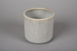 A152VU Grey ceramic planter pot D12cm H11cm