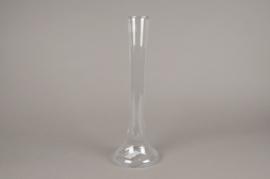 A153I0 Vase en verre église D6cm H40cm