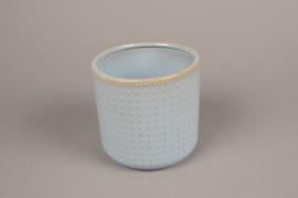 A153VU Cache-pot en céramique bleu D13.5cm H13cm