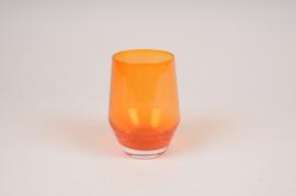 A153W3 Orange glass vase D8.5cm H11cm