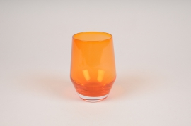 A153W3 Vase en verre obus orange D8.5cm H11cm