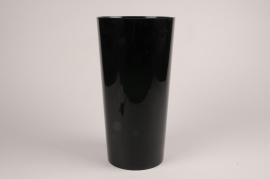 A154T7 Vase cylindre en plasrique noir D18.5cm H35cm