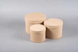 A154UN Set de 3 boîtes en carton naturel D23.5cm H17cm