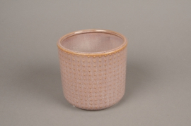 A154VU Pink ceramic planter pot D13.5cm H13cm